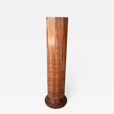 Art Deco English Walnut Pedestal Column