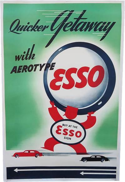 Art Deco Esso Gasoline 1930s Advertising Poster