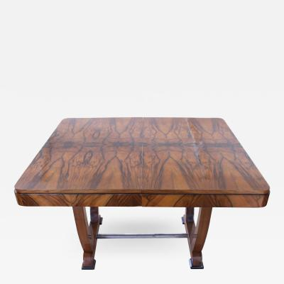 Art Deco Expandable Dining Table Walnut Veneer France circa 1930