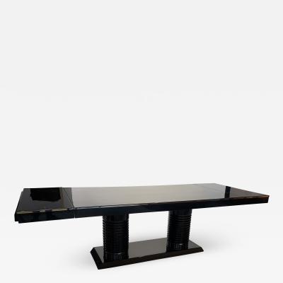 Art Deco Expandable Table Black Lacquer Metal Trims France circa 1930