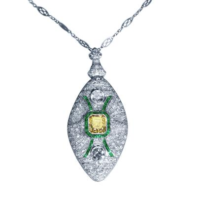 Art Deco Fancy Color Diamond Diamond and Emerald Pendant Necklace Brooch
