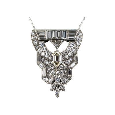 Art Deco Fancy Cut Diamond Clip Brooch