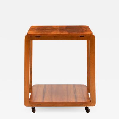 Art Deco Figured Walnut Two Tier Side Table on Casters