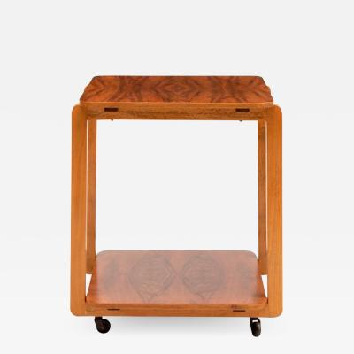 Art Deco Figured Walnut Two Tier cocktail Table on Casters
