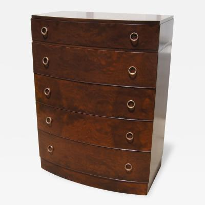 Art Deco Five Drawer Dresser in Myrtle Burl