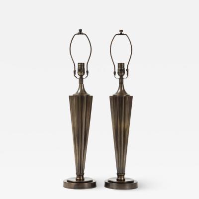 Art Deco Fluted Bronze Lamps