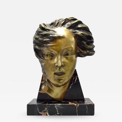Art Deco French Bust On Marble Base Circa 1930