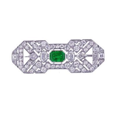 Art Deco French Emerald Diamond Brooch