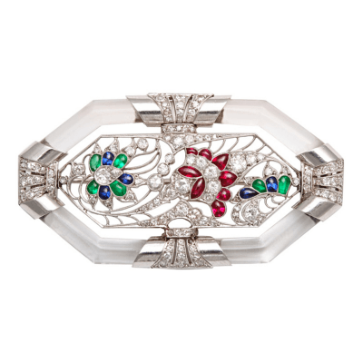 Art Deco French Gem Set Diamond Rock Crystal Pin