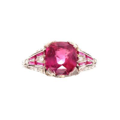 Art Deco GIA 2 52 Carat Pink Sapphire Ruby Diamond Platinum Ring