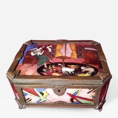 Art Deco Gamet Unique Enamel Porcelain Box