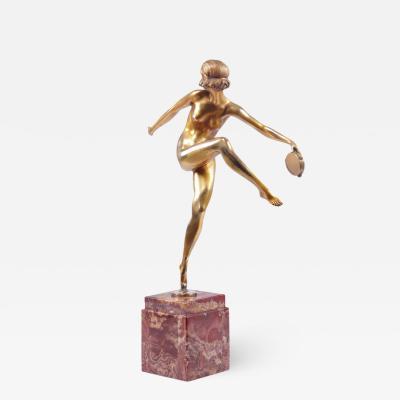 Art Deco Gilt Bronze Sculpture Tamborine Dancer by Feguays c1925
