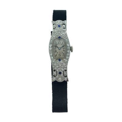 Art Deco Glycine Diamond Sapphire Wristwatch 1920s