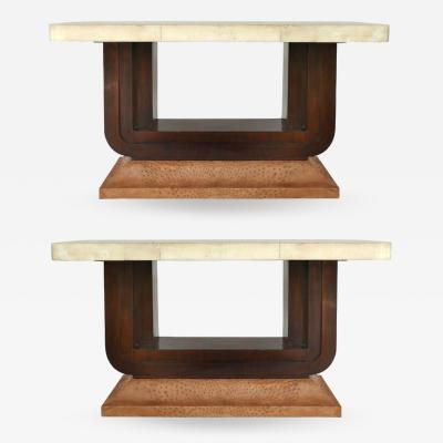 Art Deco Goatskin and Ostrich Clad Console Tables Pair