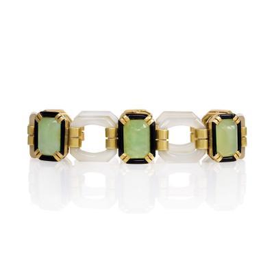 Art Deco Gold Chalcedony and Enamel Bracelet
