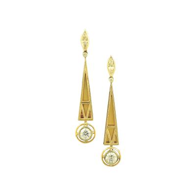 Art Deco Gold and Diamond Earrings