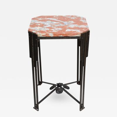 Art Deco Hammered Steel and Marble Top Table France 1930s