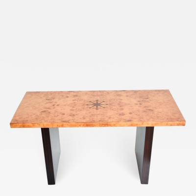 Art Deco Inlaid Burl Wood and Macassar Coffee Side Table by Andrew Szoeke
