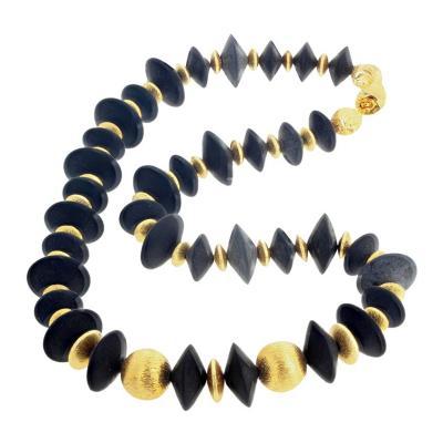 Art Deco Inspired Impressive Gold Plated Rondels Black Onyx Necklace