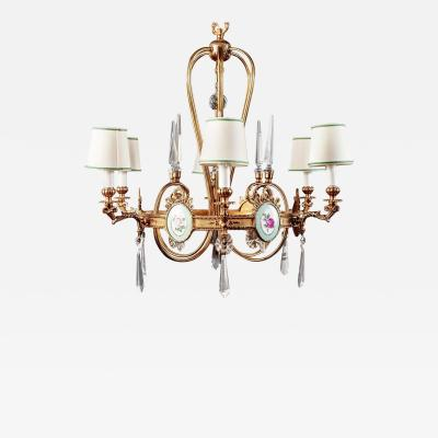 Art Deco Italian Brass Chandelier with Charming Porcelain Insert 1940