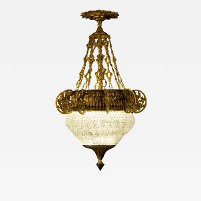 Art Deco Italian Ormolu and Murano Glass Majestic Lantern Chandelier 1930