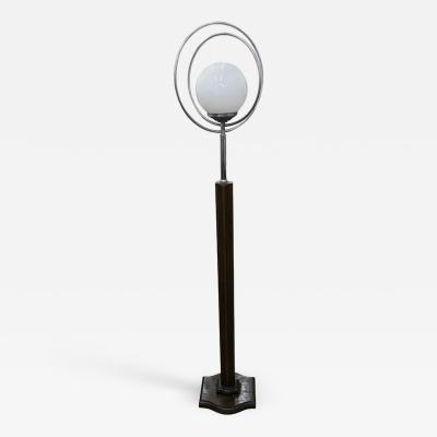 Art Deco Italian Wood Aluminium and White Glass Floor Lamp circa 1930