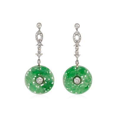 Art Deco Jade Disc and Diamond Earrings in Platinum