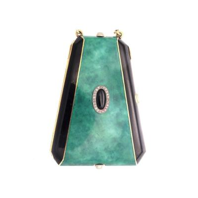 Art Deco Jade Onyx Diamond Gold Compact
