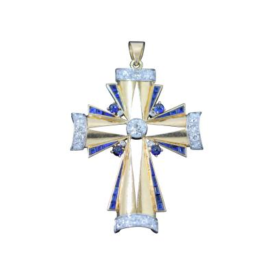 Art Deco Jeweled Cross Pendant