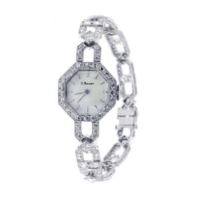 Art Deco Ladys Platinum and Diamond Octagonal Bracelet Watch