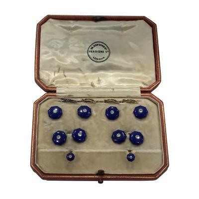 Art Deco Lapis Diamond 18K Platinum Studs and links Tuxedo Set