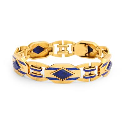 Art Deco Lapis Enamel Bracelet in 18K Gold