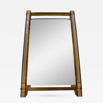 Art Deco Lucite Faux Tortoiseshell Style Brass Vanity Mirror
