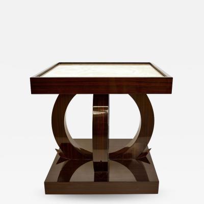 Art Deco Macassar Ebony Side Table with Onyx Top