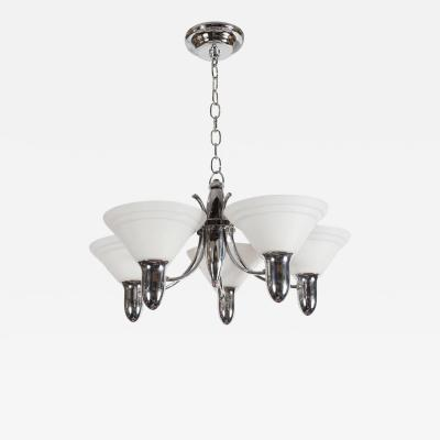 Art Deco Machine Age Chrome and Glass Bullet Chandelier with Linear Detailing