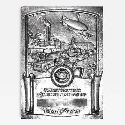 Art Deco Machine Age Goodyear Tire Commemorative Wall Plaque