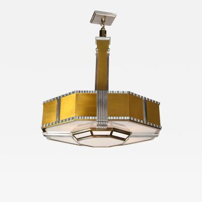 Art Deco Machine Age Monumental Skyscraper Style Aluminum and Brass Chandelier