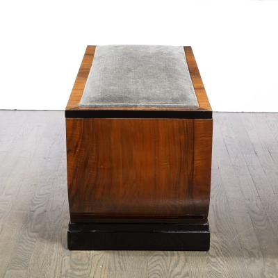 Art Deco Machine Age Streamline Lacquer Bookmatched Walnut Slate Mohair Bench