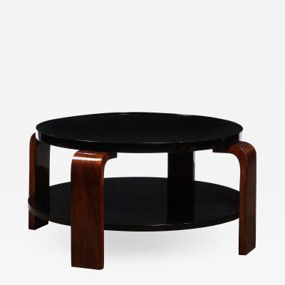 Art Deco Machine Age Two Tier Black Lacquer Vitrolit Bookmatched Walnut Table