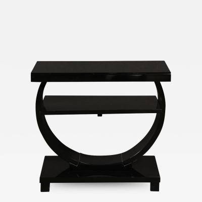 Art Deco Machine Age Two Tier Black Lacquer Vitrolite Demilune Side Table