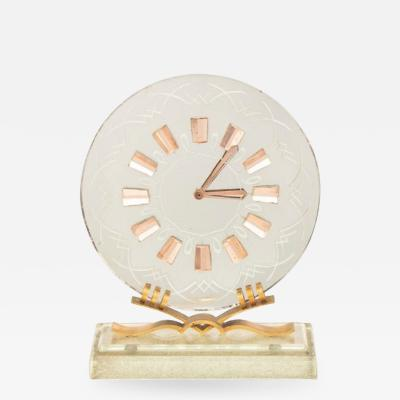 Art Deco Mirror Glass Clock on Glass Base