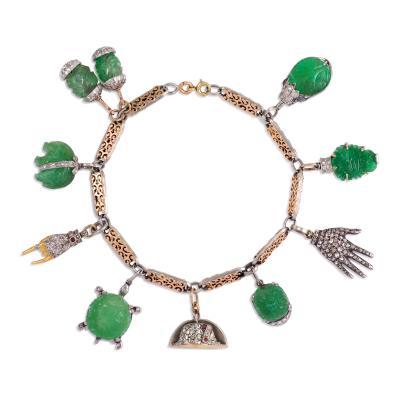 Art Deco Mixed Metal Charm Bracelet