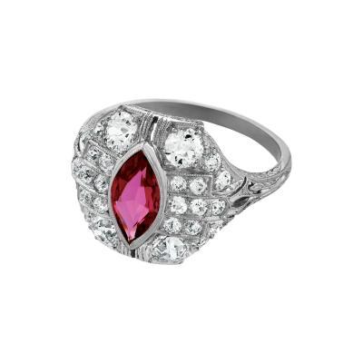Art Deco Natural Ruby Diamond and Platinum Ring