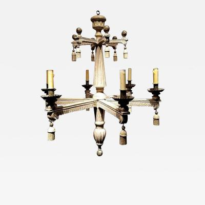 Art Deco Neoclassical Wooden Chandelier