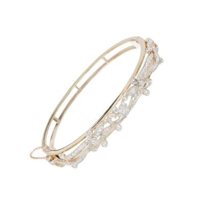 Art Deco Old Mine Cut Diamond Bangle Platinum Gold Bracelet