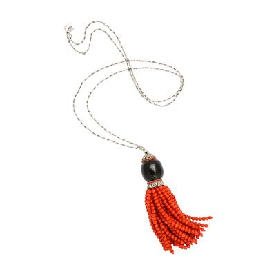 Art Deco Onyx Coral Diamond Tassel
