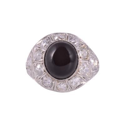 Art Deco Onyx Diamond Platinum Ring