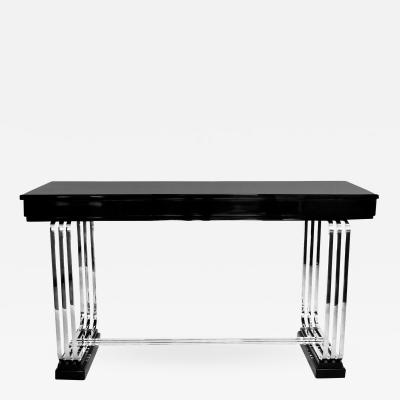 Art Deco Original Console Table in Black Lacquer and Nickel