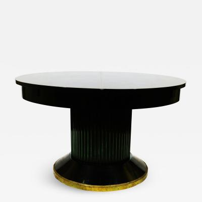 Art Deco Oval Black Lacquer Hall Foyer Table Expands