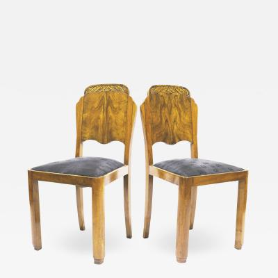 Art Deco Pair of Chairs with Horse Hair Upholstery